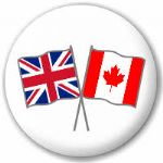Great Britain and Canada Friendship Flag 25mm Pin Button Badge